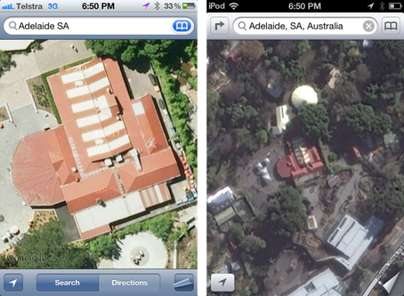 Google maps izquierda. Apple Maps Derecha